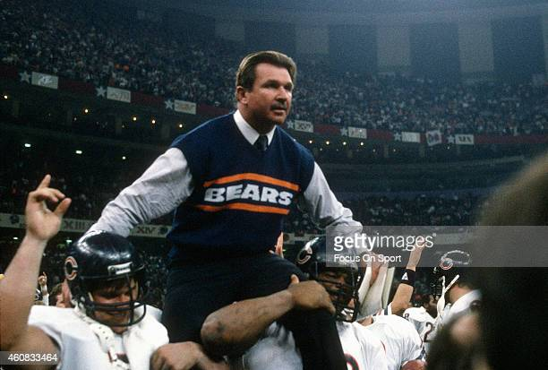 Head Coach Mike Ditka of the Chicago Bears gets carried off the field after they defeated the New England Patriots in Super Bowl XX January 26 1986...