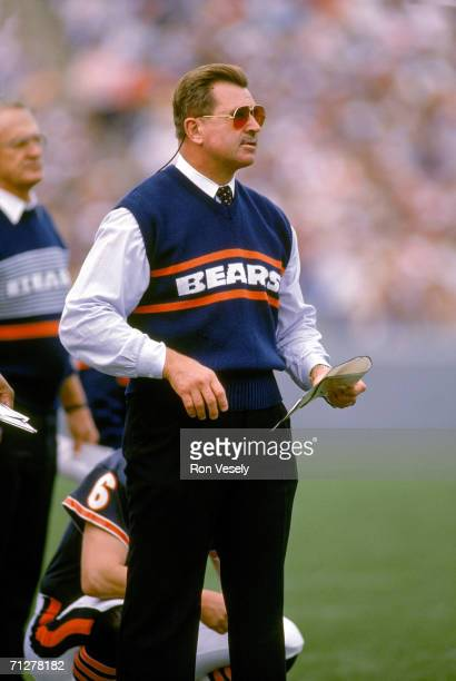 Head coach Mike Ditka of the Chicago Bears looks on during an October 1989 game at Soldier Field in Chicago, Illinois.