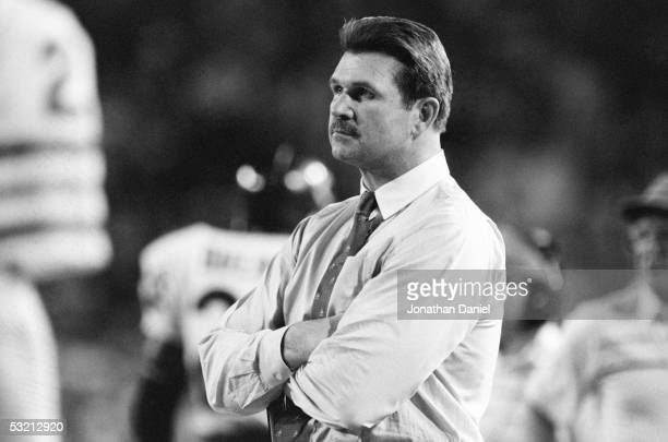 Head coach Mike Ditka of the Chicago Bears looks on during the game against the Miami Dolphins at the Orange Bowl on December 2, 1985 in Miami,...