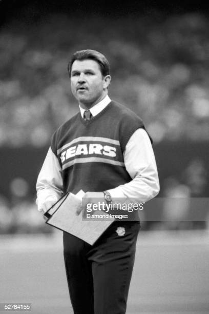 Head coach Mike Ditka of the Chicago Bears looks on the sidelines during a game in 1986.