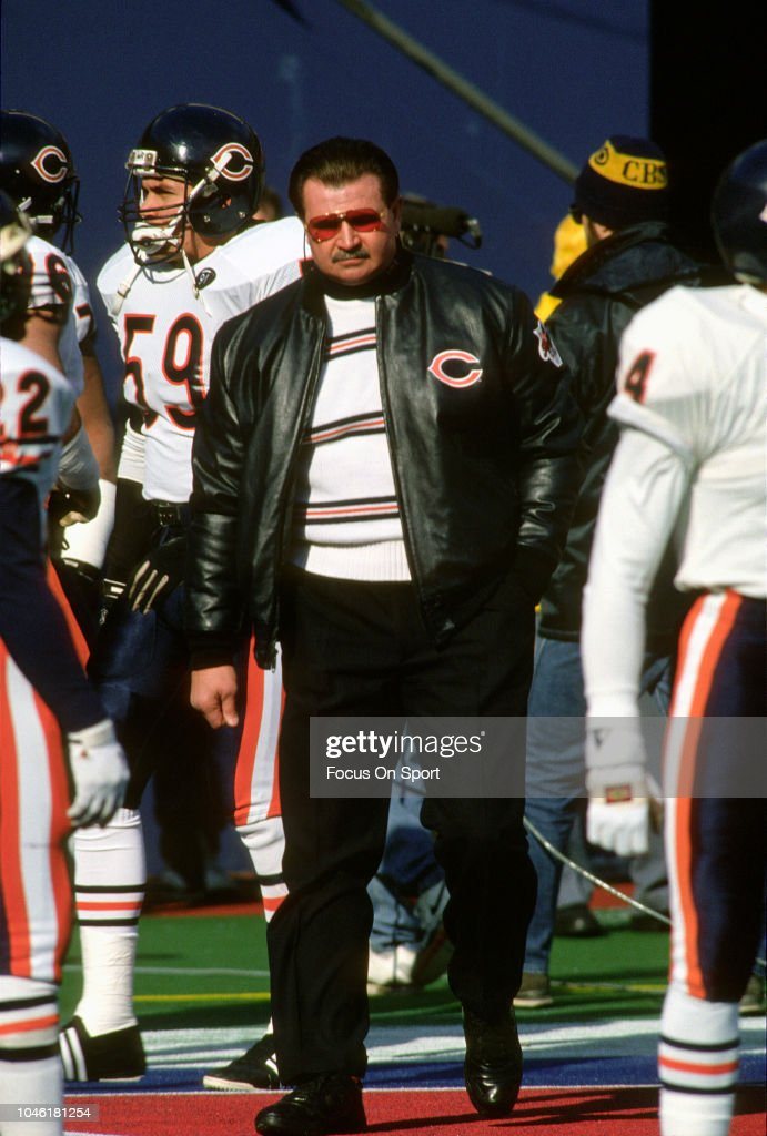 Head Coach Mike Ditka of the Chicago Bears looks on while his team warms up prior to playing the New York Giants in the NFC Divisional Playoff game...