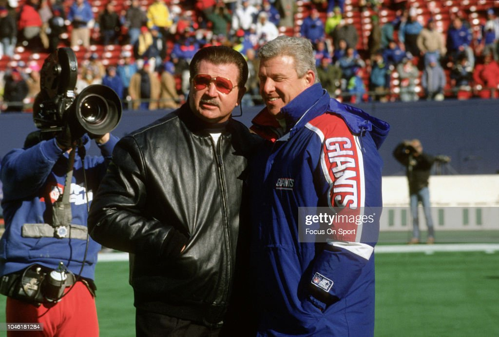 Head Coach Mike Ditka of the Chicago Bears poses for this photo with head coach Bill Parcells of New York Giants prior to the start of the NFC...