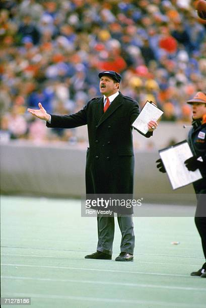 Head coach Mike Ditka of the Chicago Bears reacts to a call during an undated game at Soldier Field in Chicago, Illinois. Ditka coach the Bears from...