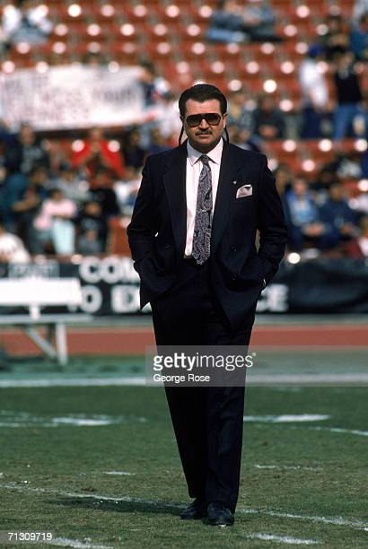 Head coach Mike Ditka of the Chicago Bears walks on the field as the bears prepare to take on the Los Angeles Raiders at the Los Angeles Memorial...