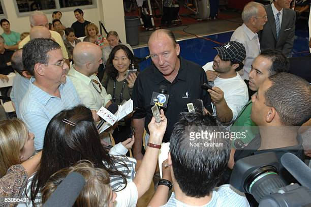 Head Coach Mike Dunleavy of the Los Angeles Clippers fields questions from the media during NBA Media Day on September 29 2008 at the Clippers...