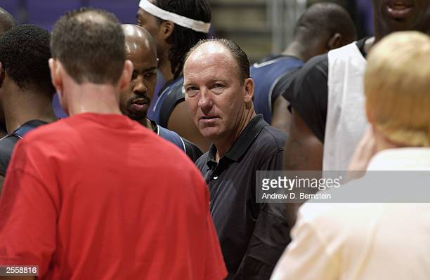 Head coach Mike Dunleavy of the Los Angeles Clippers looks on during NBA Media Day at Staples Center on September 29 2003 in Los Angeles California...
