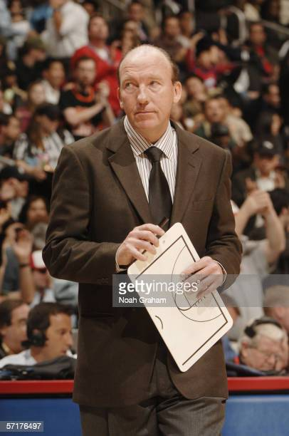 Head coach Mike Dunleavy Sr of the Los Angeles Clippers looks on against the New Orleans/Oklahoma City Hornets at Staples Center on March 1 2006 in...