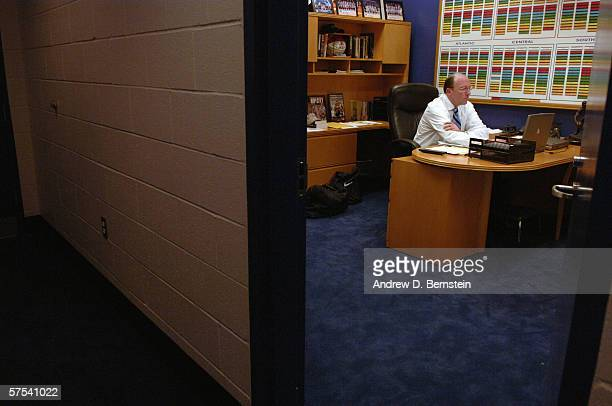 Head coach Mike Dunleavy Sr of the Los Angeles Clippers sits in his office prior to game five of the Western Conference Quarterfinals against the...