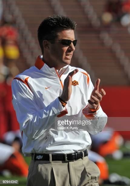 Head coach Mike Gundy of the Oklahoma State Cowboys looks on during the game against the Iowa State Cyclones at Jack Trice Stadium on November 7,...