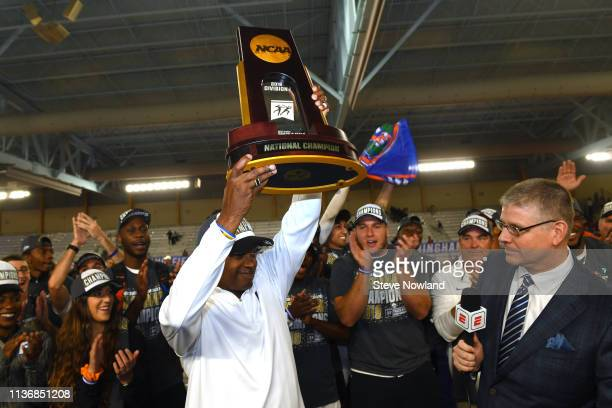 Head Coach Mike Holloway of the Florida Gators celebrates after winning the men's national title during the Division I Men'u2019s and Women'u2019s...