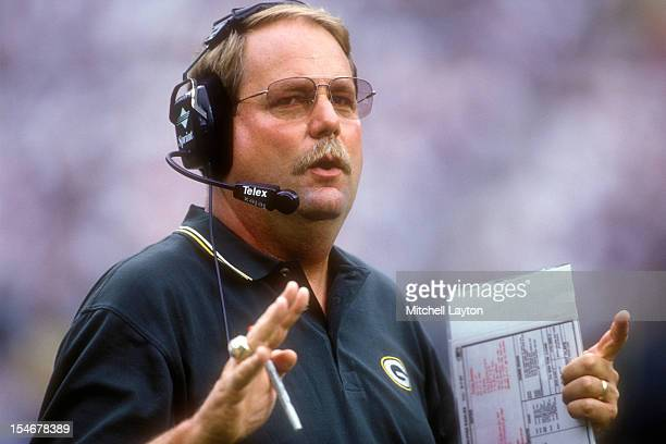 Head coach Mike Holmgren of the Green Bay Packers looks on during a football game against the Philadelphia Eagles on September 27 1997 at Veterans...