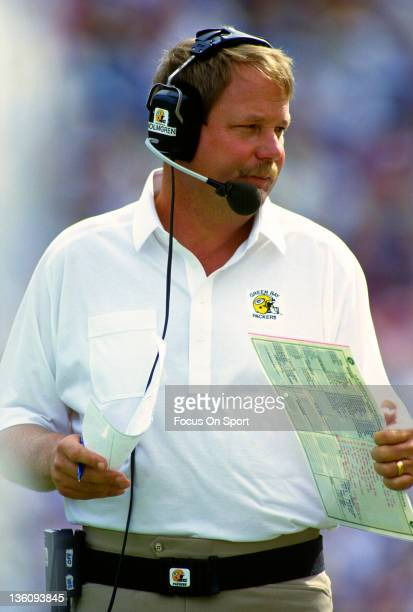 Head coach Mike Holmgren of the Green Bay Packers looks on from the sidelines against the Minnesota Vikings during an NFL football game September 6...