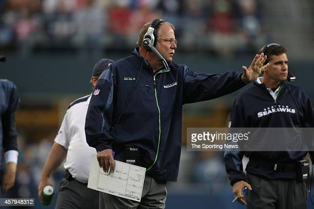 Head Coach Mike Holmgren of the Seattle Seahawks looks on during a game against the Oakland Raiders on August 29 2008 at Qwest Field in Seattle...