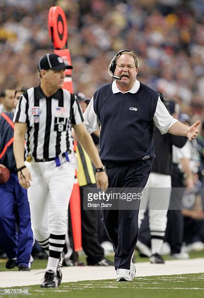Head coach Mike Holmgren of the Seattle Seahawks yells at a referee in the second half against the Pittsburgh Steelers in Super Bowl XL at Ford Field...