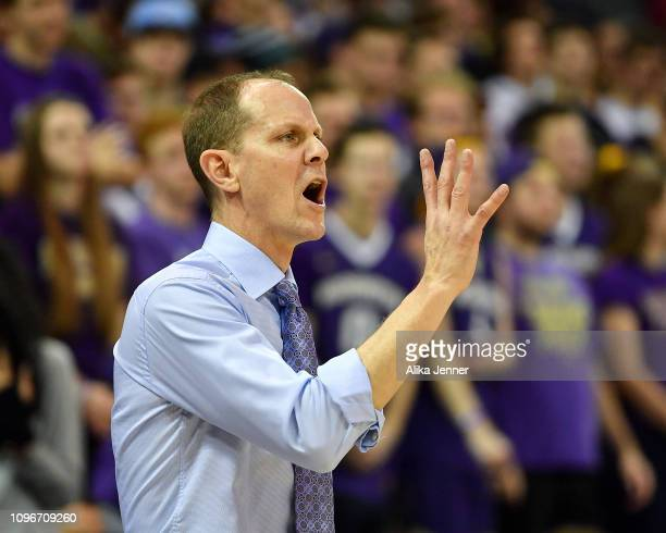 head coach Mike Hopkins of the Washington Huskies calls out a play against the California Golden Bears in the second half at Hec Edmundson Pavilion...