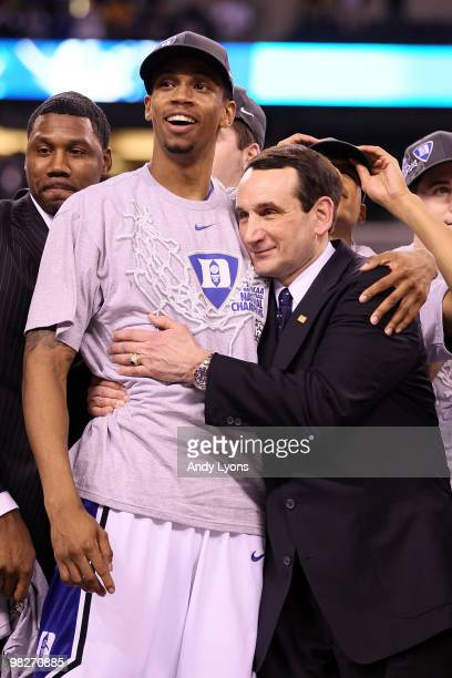 Head coach Mike Krzyzewski and Lance Thomas of of the Duke Blue Devils celebrate after their 6159 win against the Butler Bulldogs during the 2010...