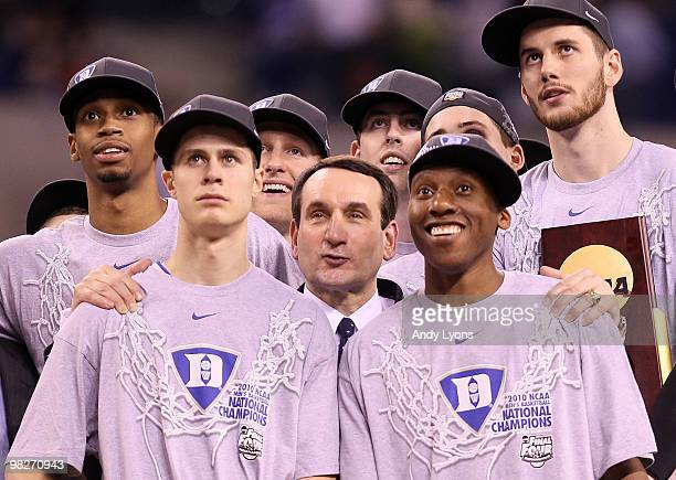 Head coach Mike Krzyzewski and the Duke Blue Devils celebrate after their 6159 win against the Butler Bulldogs during the 2010 NCAA Division I Men's...