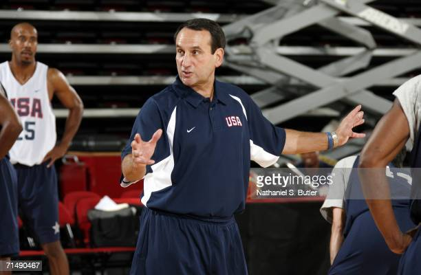 Head Coach Mike Krzyzewski gives directions during USA Senior Mens National Team practice on July 20 2006 at the Cox Pavilion in Las Vegas Nevada...