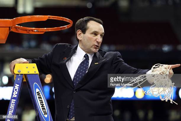 Head coach Mike Krzyzewski of the Duke Blue Devils after a 7871 win against the Baylor Bears during the south regional final of the 2010 NCAA men's...