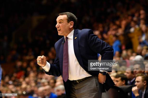 Head coach Mike Krzyzewski of the Duke Blue Devils against the Colorado State Rams during their game at Cameron Indoor Stadium on November 08, 2019...