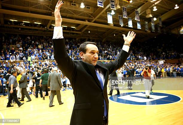 Head coach Mike Krzyzewski of the Duke Blue Devils celebrates after defeating the North Carolina Tar Heels 9381 at Cameron Indoor Stadium on March 8...