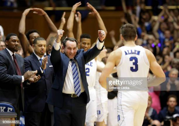 Head coach Mike Krzyzewski of the Duke Blue Devils celebrates with Grayson Allen of the Duke Blue Devils as they defeat the North Carolina Tar Heels...