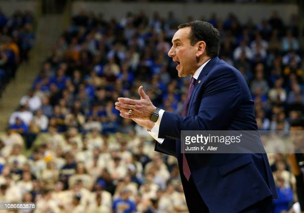 Head coach Mike Krzyzewski of the Duke Blue Devils coaches against the Pittsburgh Panthers at Petersen Events Center on January 22 2019 in Pittsburgh...