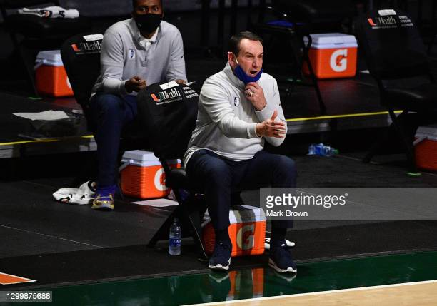 Head coach Mike Krzyzewski of the Duke Blue Devils coaches his team during the second half against the Miami Hurricanes at Watsco Center on February...