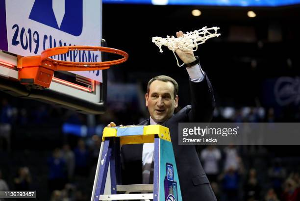 Head coach Mike Krzyzewski of the Duke Blue Devils cuts down the net after defeating the Florida State Seminoles 7363 in the championship game of the...