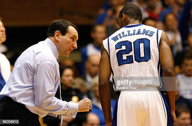Head coach Mike Krzyzewski of the Duke Blue Devils directs Elliot Williams against the Florida State Seminoles during the game on March 3 2009 at...