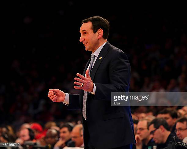 Head coach Mike Krzyzewski of the Duke Blue Devils directs his players in the second half against the St John's Red Storm at Madison Square Garden on...