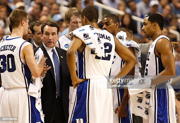 Head coach Mike Krzyzewski of the Duke Blue Devils directs his team against the Texas Longhorns during the second round of the NCAA Division I Men's...