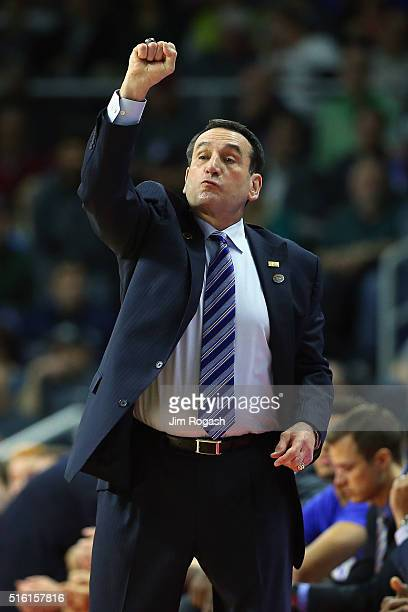 Head coach Mike Krzyzewski of the Duke Blue Devils gestures in the first half of the game against the North CarolinaWilmington Seahawks during the...