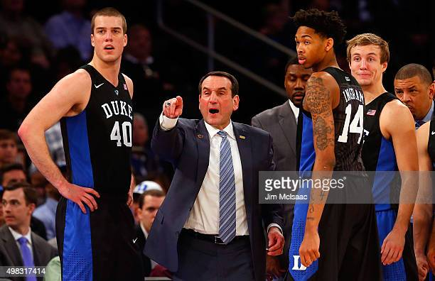 Head coach Mike Krzyzewski of the Duke Blue Devils gestures to the referees during the second half against the Georgetown Hoyas during the 2K Classic...