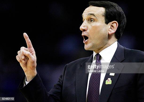 Head coach Mike Krzyzewski of the Duke Blue Devils gives instruction from the bench during their second round NCAA Tournament game against the...