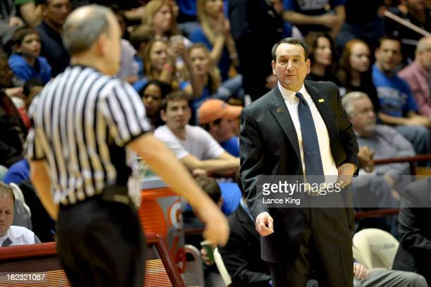 Head Coach Mike Krzyzewski of the Duke Blue Devils looks at a referee during a game against the Virginia Tech Hokies at Cassell Coliseum on February...