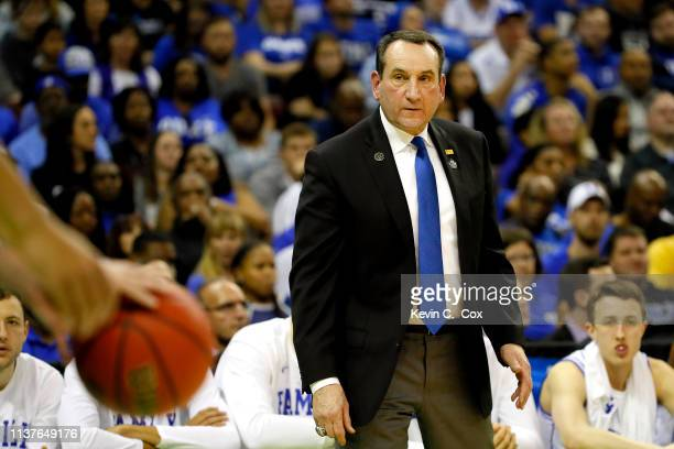 Head coach Mike Krzyzewski of the Duke Blue Devils looks on against the North Dakota State Bison in the first half during the first round of the 2019...
