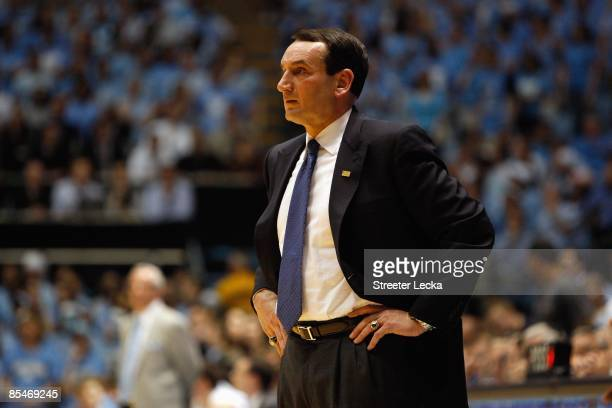 Head coach Mike Krzyzewski of the Duke Blue Devils looks on during the game against the North Carolina Tar Heels at the Dean E. Smith Center on March...