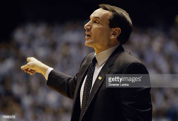 Head coach Mike Krzyzewski of the Duke Blue Devils on the sideline during the game against the University of North Carolina Tar Heels on February 5,...