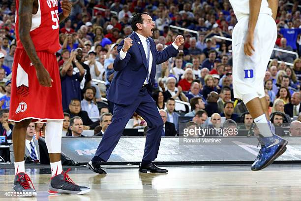 Head coach Mike Krzyzewski of the Duke Blue Devils reacts against the Utah Utes in the second half during a South Regional Semifinal game of the 2015...