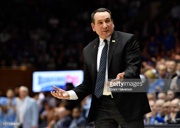 Head coach Mike Krzyzewski of the Duke Blue Devils reacts during the second half of their game against the North Carolina Tar Heels at Cameron Indoor...