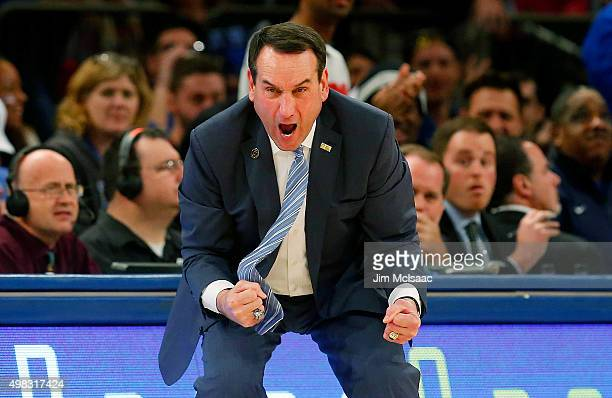 Head coach Mike Krzyzewski of the Duke Blue Devils reacts in the second half against the Georgetown Hoyas during the 2K Classic championship game at...