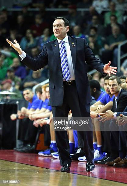 Head coach Mike Krzyzewski of the Duke Blue Devils reacts in the first half against the North CarolinaWilmington Seahawks during the first round of...