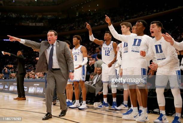 Head coach Mike Krzyzewski of the Duke Blue Devils reacts to a call in the second half against the Kansas Jayhawks during the State Farm Champions...