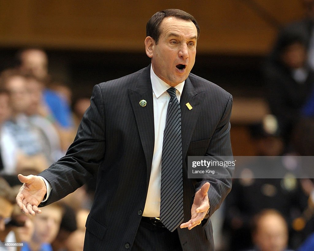 Head Coach Mike Krzyzewski of the Duke Blue Devils reacts to a call during their game against the Boston College Eagles at Cameron Indoor Stadium on January 3, 2015 in Durham, North Carolina.