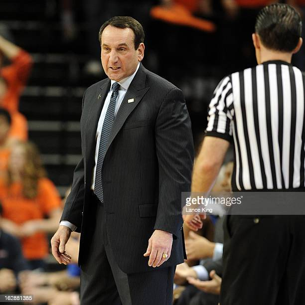 Head coach Mike Krzyzewski of the Duke Blue Devils reacts to a play during a game against the Virginia Cavaliers at John Paul Jones Arena on February...