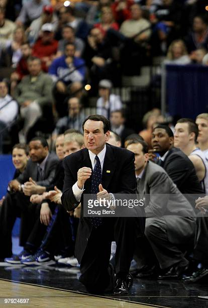Head coach Mike Krzyzewski of the Duke Blue Devils reacts to the play of his team while facing the California Golden Bears during the second round of...