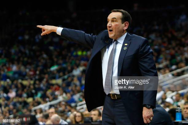 Head coach Mike Krzyzewski of the Duke Blue Devils shouts against the Rhode Island Rams during the second half in the second round of the 2018 NCAA...