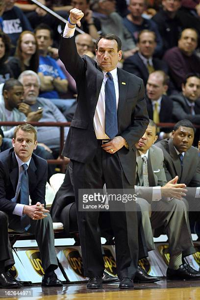 Head Coach Mike Krzyzewski of the Duke Blue Devils signals a play during a game against the Virginia Tech Hokies at Cassell Coliseum on February 21...