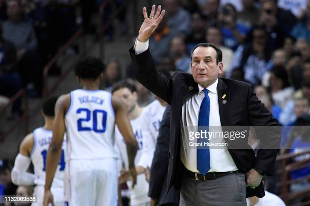 Head coach Mike Krzyzewski of the Duke Blue Devils signals his team during the game against the North Dakota State Bison in the first round of the...
